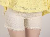 2015新款圆圈蕾丝安全裤双层蕾丝睫毛边三分裤热裤防走光外穿裤
