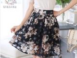 2015夏季新款欧根纱韩版收腰半身裙精致印花百搭爆款蓬蓬裙