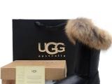 高筒靴狐狸毛防水金属黑色新款时尚UGG雪地靴澳洲A级羊毛皮毛一体