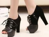 唯美款 韩版鱼嘴防水台绒面拼接绑带粗跟裸靴 凉靴 短靴单鞋6709