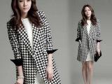 2014秋冬新款女装大码千鸟格大衣 韩版修身中长款呢子外套