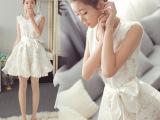 夏天最新款欧根纱女式连衣裙夏白色无袖露肩碎花蓬蓬背心裙子