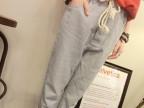 夏季新款2015韩版女装竖条纹中腰哈伦裤