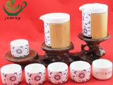 经销代理陶瓷8件套茶具套装 配竹壶茶具套装