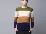 2014春秋新款男士针织羊毛衫 100%羊毛圆领拼色针织衫 厂家