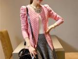 2014秋季新款韩版空调衫 泡泡袖毛衣外套女 长袖开衫针织衫