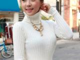 冬季韩版女装新款含兔毛弹力打底衫长款高领毛衣时尚修身针织衫女