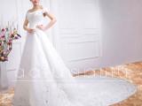 2015新款 性感拖尾婚纱 性感欧美范一字肩露背婚纱 新娘婚纱定