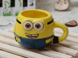 厂家直销 创意陶瓷杯子 卡通陶瓷慕斯杯 小黄人陶瓷杯新款