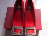 厂家直销 免费代理RV方扣水钻方头女鞋 中粗跟女单鞋绸缎女婚鞋