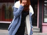 2012秋冬新款韩版羊羔毛领工装大码棉服中长款棉外套羊羔绒棉衣女