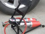 折叠脚踏式打气筒 汽车打气泵 车载双筒高压脚踏充气泵