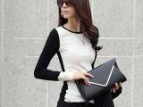 2013春秋装新款韩版女士长袖高领拼色T恤 纽扣修身打底衫 H1