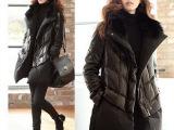 加绒韩版女装棉衣女pu皮拼接加厚女式棉服真兔毛领中长女棉袄外套