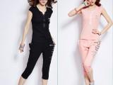 新款夏装半袖韩国运动套装时尚大码短袖休闲套 V领套装