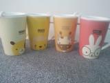 ZAKKA杂货 森系超萌动物盖杯 牛奶杯 创意马克杯 可爱V形咖