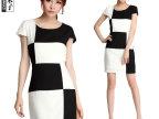 2014夏季新款女装 韩系黑白撞色拼接 OL气质修身短袖连衣裙