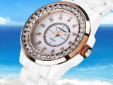 正品时诺比 韩时尚潮流女士镶钻陶瓷手表女 防水石英表 学生手表
