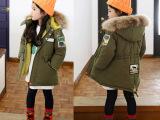 女童棉衣2015韩版童装中大童加厚连帽真毛领中长款棉服一件代发