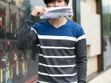 2014秋装新款经典条纹毛衣男 时尚V领潮男个性公子针织衫一件代
