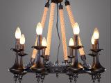 美式乡村复古灯饰创意个性卧室餐厅艺术客厅LED灯具铁艺麻绳吊灯