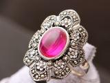 纳福阁银饰品批发 925纯银镶红刚玉戒指 女士复古食指泰银戒子