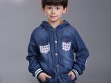 外贸品质童装 儿童外套中大童男童冬季加绒加厚软牛仔上衣 批发