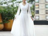 2014春装白色V领/雪纺连衣裙长款晚礼服长裙帝弗润驰新款爆款现
