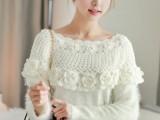 韩国春装新款唯美镂空立体花朵镶珠披肩领毛绒针织衫毛衣