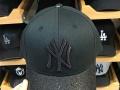 MLB原版棒球帽 基洋队NY纯黑亮片鸭舌帽