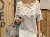 韩国新款甜美蕾丝镂空手工钩花披肩领蝙蝠袖中长款T恤女