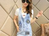 夏季韩版女装V领外贸原单背带裙 破洞牛仔连衣裙 一件代发
