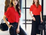 2015夏新款韩版大码宽松女装纯色短袖雪纺衫阔腿裤套装两件套
