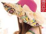 帽子帽女士夏天韩版遮阳帽可折叠太阳帽沙滩帽大沿防晒帽潮批发