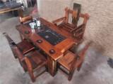 老船木茶桌椅組合仿古船木功夫茶藝桌船木博古架