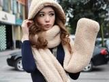 韩版 秋冬天女士围脖可爱双层加厚毛绒绒线韩国围巾帽子手套一体