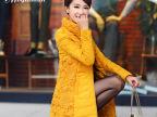 【订】2014冬装新款韩版修身蕾丝拼接中长款加厚羽绒服女大码