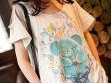 日系文艺范小清新大象印花圆领大码蕾丝拼接宽松女t恤 短袖 女