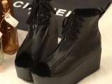 批发一件代发韩国新款街头 厚底防水台鱼嘴靴坡跟女鞋