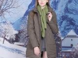 预售 欧美女式中长款羽绒服女加厚保暖羽绒外套大码白鹅绒羽绒衣