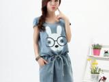 2014夏季新款 印花卡通兔子甜美修身大码牛仔连衣裙  5085
