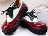 春季 英伦复古厚底松糕鞋女鞋拼色底坡跟单鞋 雕花休闲潮