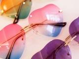 大牌无框爱心形反光渐变色太阳镜女 韩版可爱桃心墨镜彩色眼镜