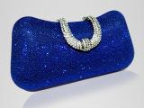 真丽美 欧美时尚杂志新款晚宴包丝网料晚装盒U型镶钻搭扣手包