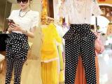 2014欧洲站夏新款刺绣蕾丝衫高腰荷叶边波点长裤3件套装