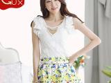 2014新款夏装韩版V领打底衫OL通勤修身刺绣蕾丝短袖t恤女免费
