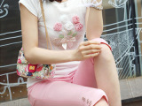 韩版夏季女式休闲裤七分裤 修身显瘦白色下装弹力棉质裤子批发