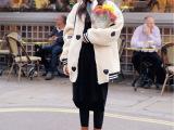 韩国stylenanda官网代购同款心型刺绣羊羔毛棒球款夹棉外套