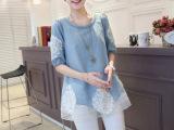 2014春夏新款韩版欧根纱镶钻蕾丝假两件圆领套头女牛仔衬衫