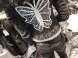 欧洲站秋冬新款时尚个性蝴蝶烫钻毛领牛仔外套 修身夹棉牛仔衣